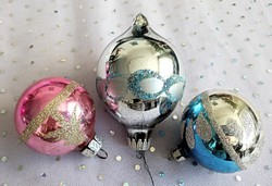 Régi üveg gömb karácsonyfa díszek 3db