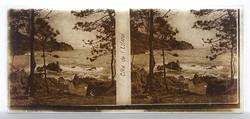 1B519 Antik francia üveglemez sztereó fotográfia Cote de L'Estérel XIX. század