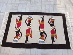 Dél afrikai 104x138 kézi gyapjú kilim szőttes szőnyeg, fali szőnyeg 26P_26