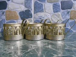 Pohártartó szett készlet fém ezüst 6 db