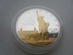 1986 USA Ellis Island Liberty aranyozott 27g 0.900ag emlékérme RITKA
