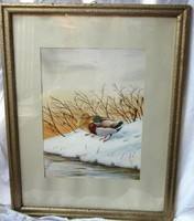 Akvarell festmény téli tájkép kacsapár jelzett, 39 x 50, 45 x 33 cm.