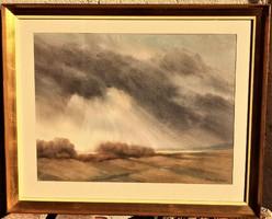 Blaskó János (1919-1988) Elvonuló felhők c.Képcsarnokos festménye 78x64cm EREDETI GARANCIÁVAL !!