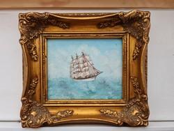 Vitorláshajó a tengeren Antik miniatür barokk keretben