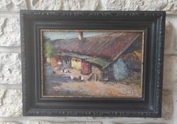 Tanyasi életkép festmény, tyúkok, baromfi udvar Németh Béla Bertalan,Gutahàzi, Németh György?