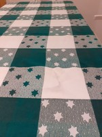 Karácsony - zöld, fehér pamut abrosz terítő 130x240cm pamut kockás csillagos