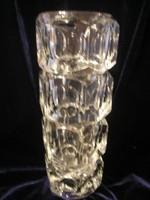 Art deco ólomkristály vastag falú üvegváza ritkaság 25 cm lapos domború rombusz négyzet díszes