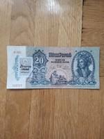 Ropogós 20 pengő bélyeggel és bélyegzéssel