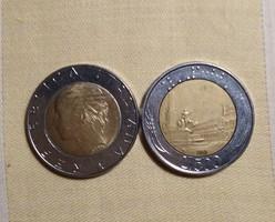 500 LIRA  2  db  Olaszország