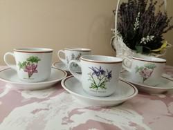 Hollóházi növényes herbáriás feliratos kávéscsészék és alátétek