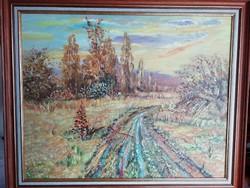 Jelzett nagy méretű kortárs festmény