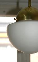 Art deco - Bauhaus réz menyezeti lámpa - savmart tejüveg félgömb búra