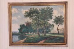 Tàjkép, tóparti,talàn Balaton, Velencei-tó ,hangulatos festmény , Szignàlt
