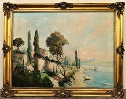 Kovács I. antik 100éves festmény mediterrán kikötő vastagon festőkéssel megfestett 90x70cm EREDETI !