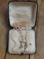 Régi Spanyol MAJORICA gyöngysor aranyozott ezüst medállal és szerelékkel