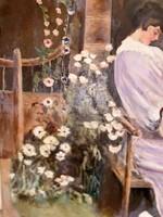 Kalapos hölgy a kertben c.olaj-vászon.Eredeti garanciával