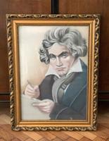 Beethoven portré rajz grafika aranyozott keretben 48x64cm
