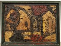 Konfár Gyula (1933 - 2008) Házak c .olajfestmény Képcsarnok aukción szerepelt EREDETI GARANCIÁVAL !!