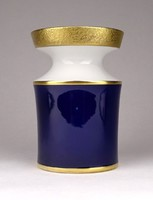 1D055 Régi aranyozott kobalkék Unterweissbach porcelán váza 12 cm