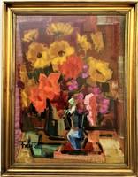 Freytag Zoltán (1901 - 1983) Virágcsendélet c.Képcsarnokos festménye 90x70cm EREDETI GARANCIÁVAL !!
