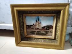 Antik Maria Zell-i gyöngyházberakásos kép üvegezett fakeretben