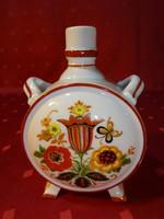 Zsolnay porcelán kulacs, antik, pajzspecsétes, barna szegélyes.