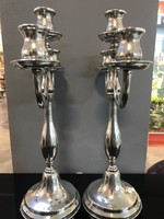 Háromágú ezüst gyertyatartó pár E/001
