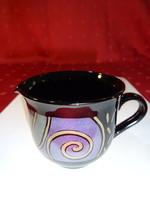 Arcoros france fekete üveg tejkiöntő, színes matricával, átmérője 7 cm.