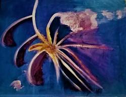 """Szabó Kata: """"Középpont"""" /abstract/ akril festmény, akvarell papír, 30,5  x 45,5 cm, szignózott"""