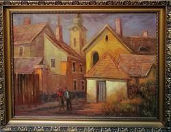 Réti Mátyás  ( 1922-2002) Délutáni séta Szentendrén c. Képcsarnokos Festménye