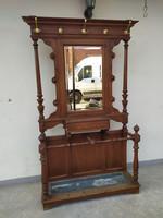 Antik Art nouveau jugendstil szecesszió nagy elegáns faragott tükrös akasztós keményfa előszobafal