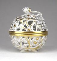 1D080 Aranyozott különleges áttört Herendi porcelán bonbonier