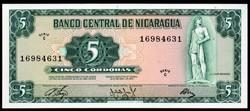 Nicaragua 5 cordobas UNC 1972