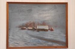 Tàjkép , modern, Szignàlt nagy méretű festmény.Tanya Gémes kúttal !