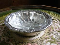 Gyönyörű, antik, ezüstözött, kisméretű üvegbetétes kínálótálka