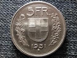 Svájc .835 ezüst 5 Frank 1931 B (id41735)