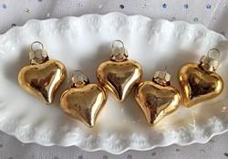 Üveg karácsonyfa díszek 5db arany szív 4cm