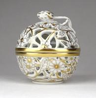 1D079 Aranyozott különleges áttört Herendi porcelán bonbonier