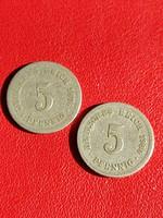 1876 és 1900 5 pfennig