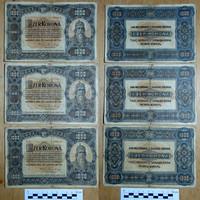 1000 korona 1920 3 db szép tartásban