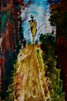 """Kata Szabo: """"walking"""" oil - acrylic painting, watercolor paper, 45.5 x 30.5 cm, signed"""