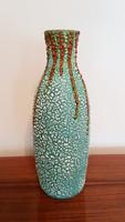 Retro régi repesztett mázas türkizkék kerámia nagy váza 32 cm mid century
