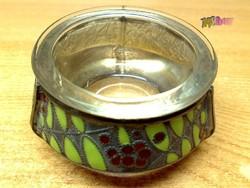 Antik rekeszzománcozott üveg betétes kaviáros edényke, szignálva, vendéglőbe, gyűjteménybe