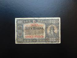 1000 korona 1923 8 fillér Felülbélyegzés ! 01