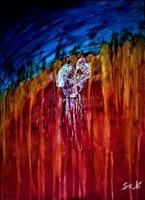 """Szabó Kata: """"Tűz és víz"""" /abstract/ akril festmény, vászon, 30 x 40 cm, szignózott"""