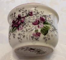 Régi csésze ibolyás komacsésze vastagfalú népi porcelán bögre