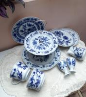 Hagymamintás porcelán csomag vegyes jelzésű kézzel festett jelzett porcelánok