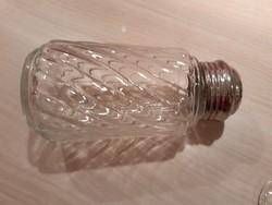 Fűszer tartó sószóró régi üveg csavart minta, fém csavaros  teteje van só