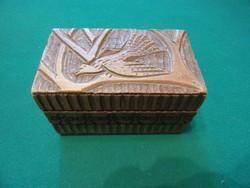 Fa kártya tartó dobozKb 11.5x7x6.8 cm-es