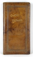 1D083 Antik francia bőr képeslaptartó album 38.5 x 20 cm